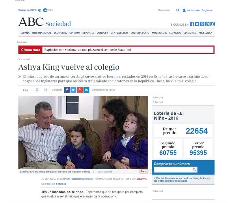 ABC, Ashya King vuelve al colegio