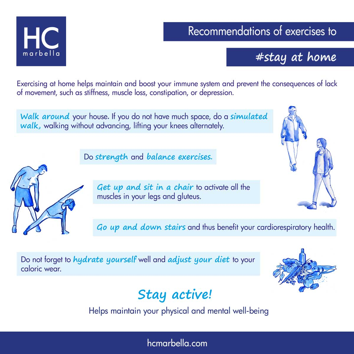 Recommendations of exercises to stay at home